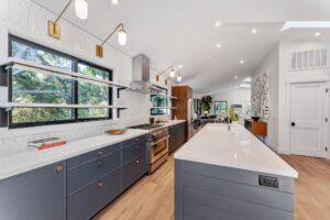 blue slim shaker cabinets in full kitchen